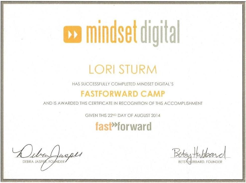 2014 Mindset Digital Certificate-Laurel (Lori) Sturm